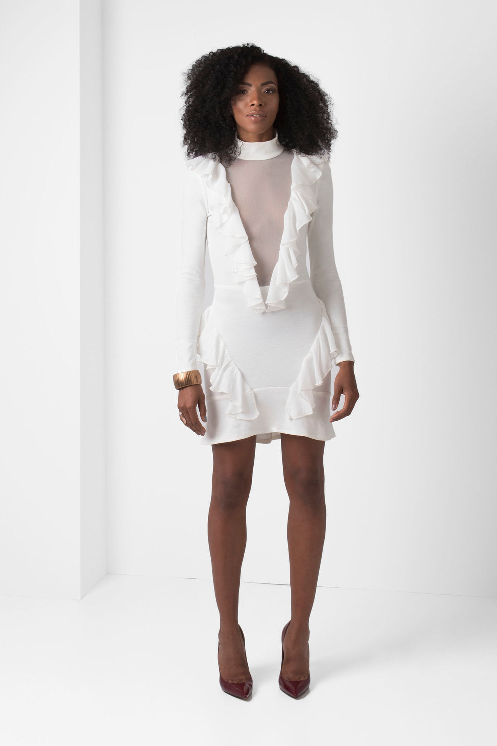 Off-White Long Sleeve Mini Dress Deep-V Mesh Ruffle Detail - pacorogiene