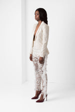 Off-White Embroidered Lace Blazer with Satin Lapel - pacorogiene