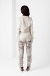 Off-White Embroidered Lace Crop Jacket with Chiffon Ruffle Detail - pacorogiene