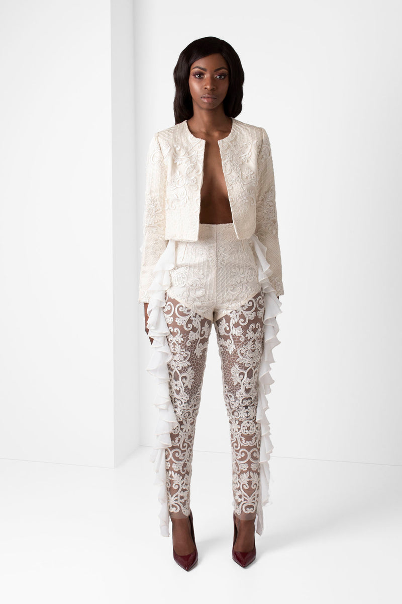 Off-White Unlined Embroidered Lace Pants with Chiffon Ruffle Detail - pacorogiene