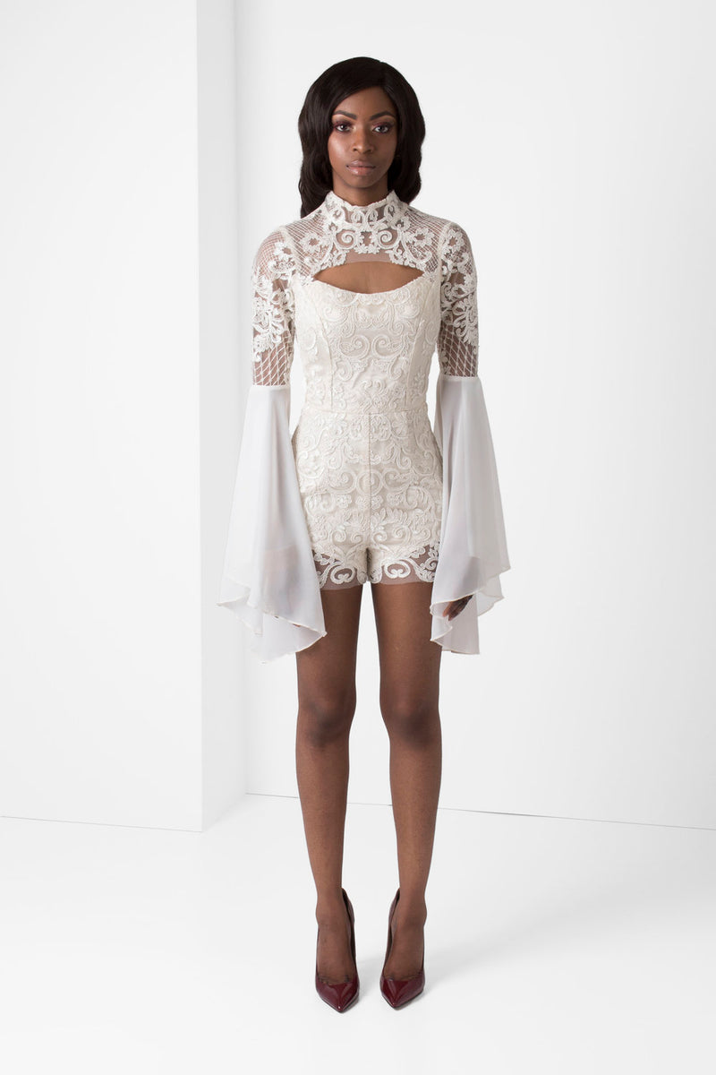 Off-White Embroidered Lace Romper - pacorogiene
