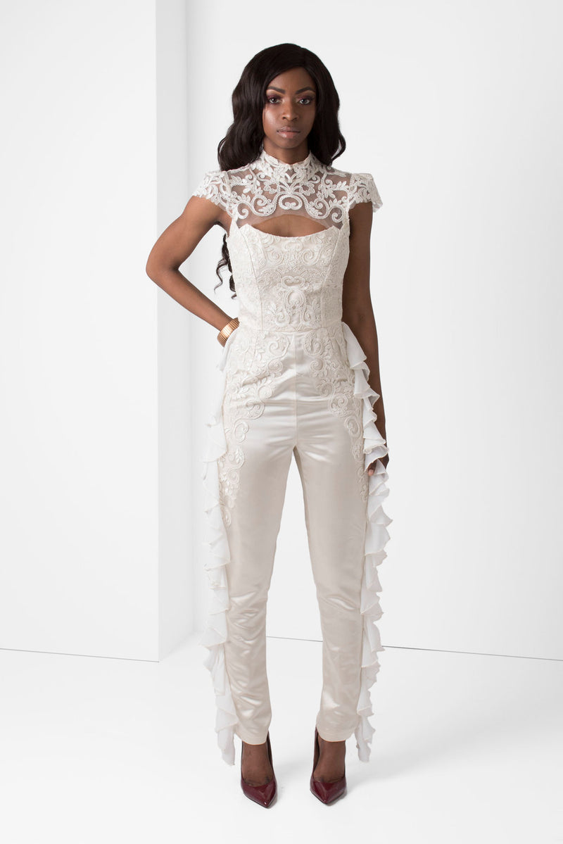 Off-White Embroidered Lace Jumpsuit - pacorogiene