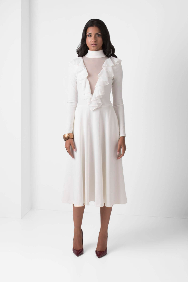 Off-White Long-sleeve Fit and Flare Dress - pacorogiene
