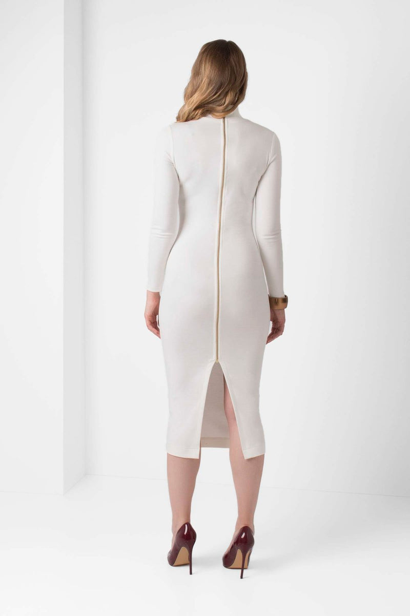 Off-White Long Sleeve BodyCon Pencil Dress - pacorogiene