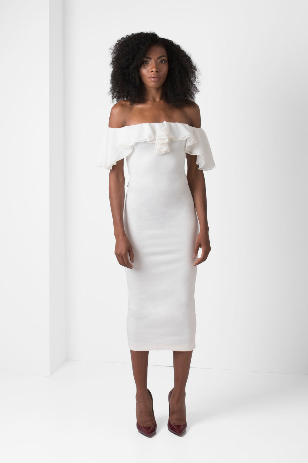Off-White Off the Shoulders Pencil Dress - pacorogiene