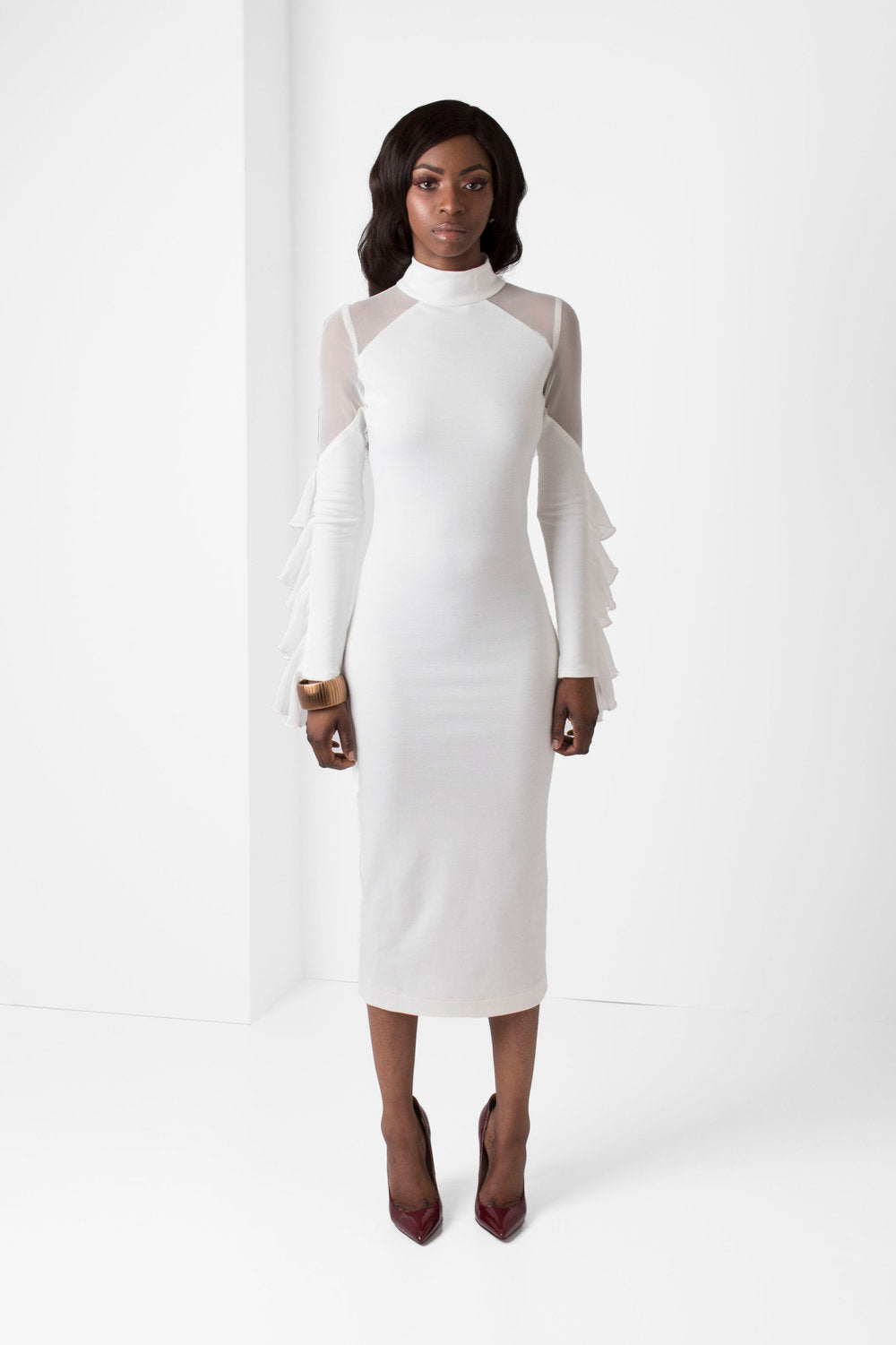 Off-White Long Sleeve BodyCon Pencil Dress w/ Mesh Shoulders - pacorogiene