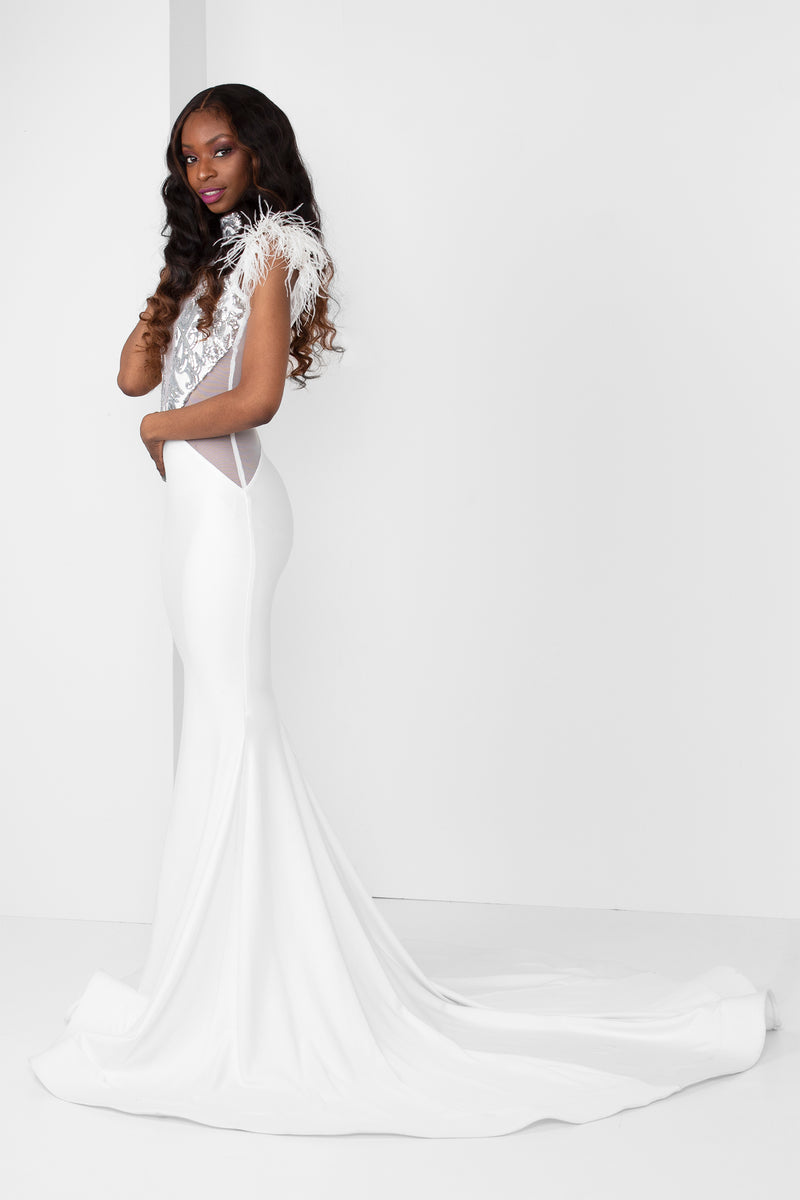 Silver Sequin Sweetheart Illusion Gown - pacorogiene