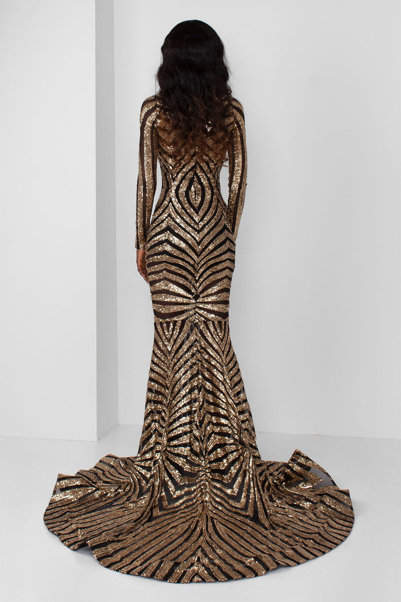 Gold Sequin Flapper Gown - pacorogiene