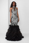 Silver Sequin Halter Gown with Organza Pedal Bottom - pacorogiene