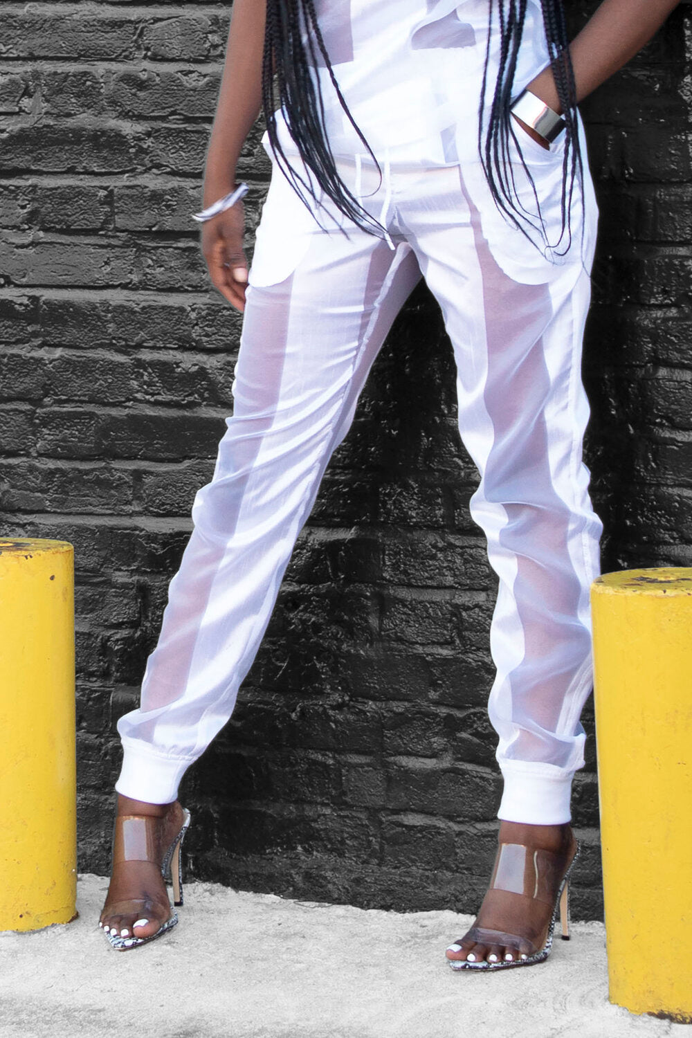 Castaway Striped Organza Joggers (White) - pacorogiene