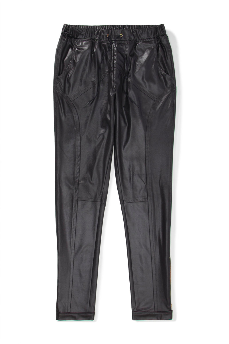 Black Illusion Leather Moto Joggers w/ Ankle Zip - pacorogiene