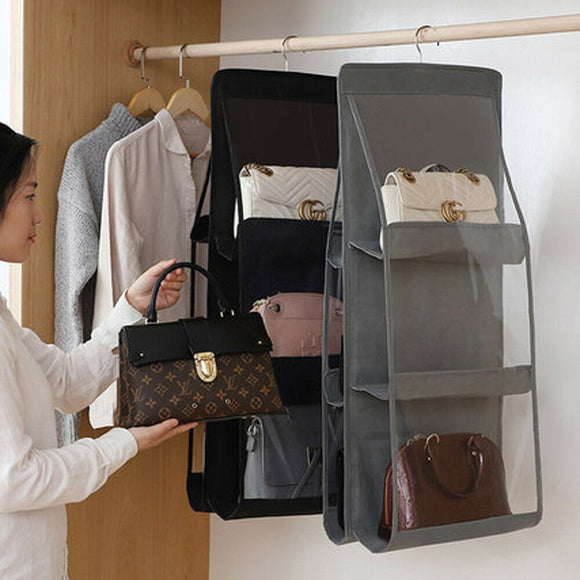 Packing Organizers Solid 6 Pocket Folding Hanging Handbag Storage Holder Organizer Rack Hook Hanger Fashion Hot 2019