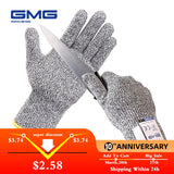 Anti Cut Proof Gloves Hot Sale GMG Grey Black HPPE EN388 ANSI Anti-cut Level 5 Safety Work Gloves Cut Resistant Gloves