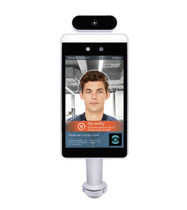 Pass Management Temperature Screening Kiosk with Face Recognition and 4' Pedestal Stand - TempSafe Technologies