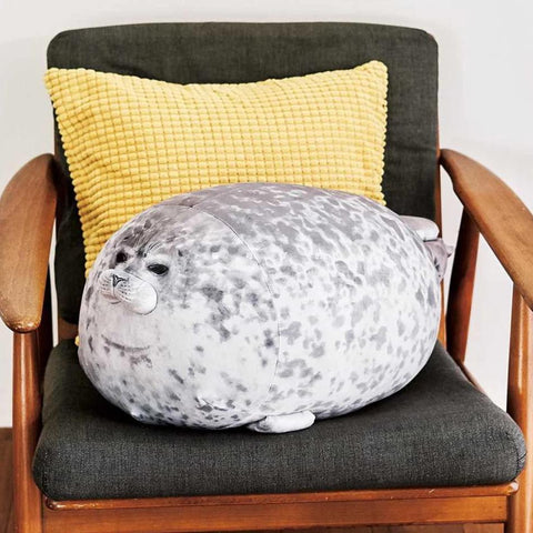 Fat Seal Pillow Sitting in a Chair