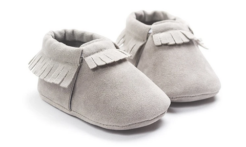 Suede Newborn Shoes Grey UniqueSimple.com