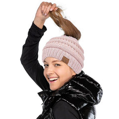 Hair and Ponytail through Hole Beanie Hat
