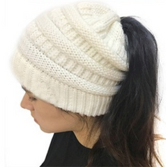 Ponytail beanie winter hat