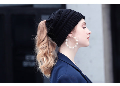 Ponytail hat beanie for women