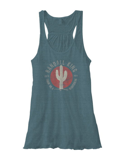 Randall King Teal Heartbreak Tank with Cactus