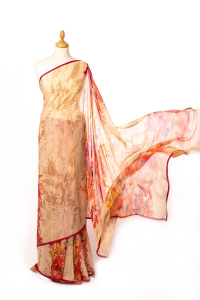 Cream print saree