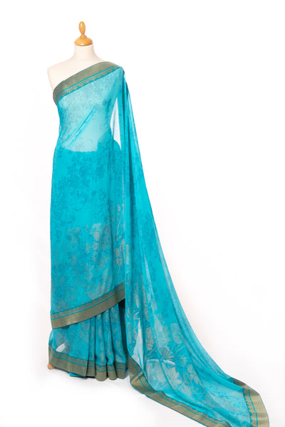Frozee blue print saree