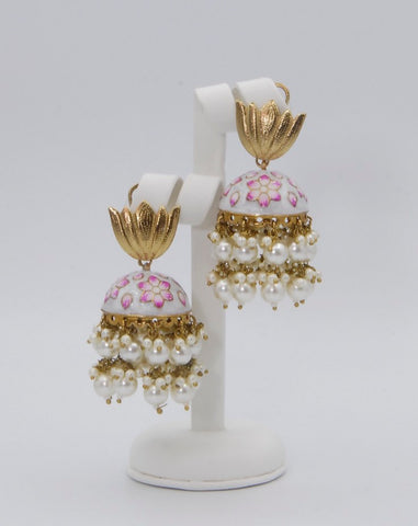 Stunning pink & white Floral Meanakari Earrings