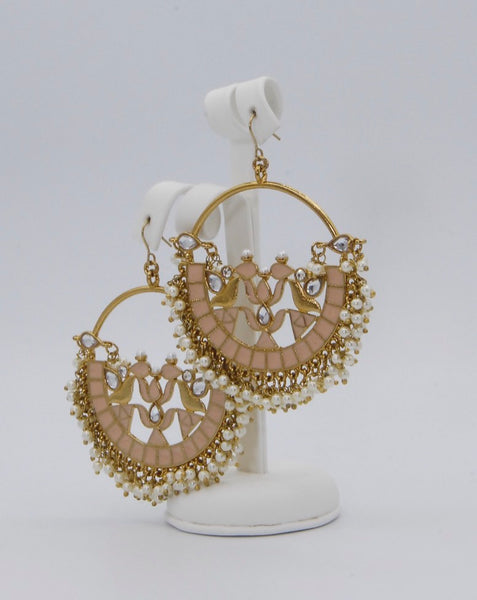 Peach Chaand Bali Earrings