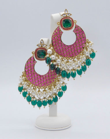Quirky Pink & Jade Earrings