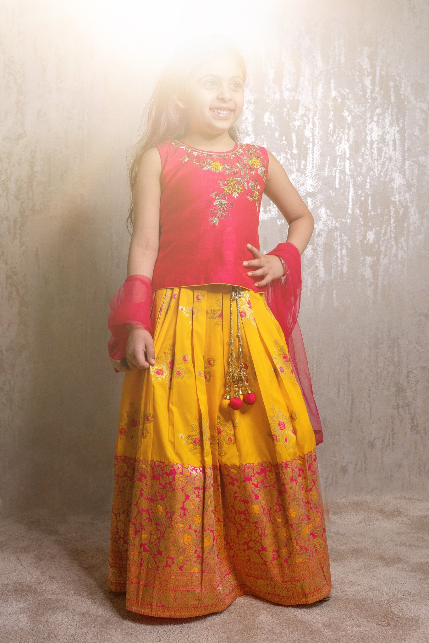 Pink & Yellow lengha