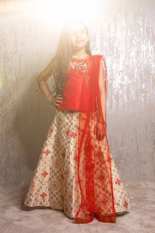 Girls Red & White Lengha