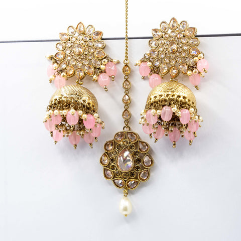 Pink Tikka Earring Set