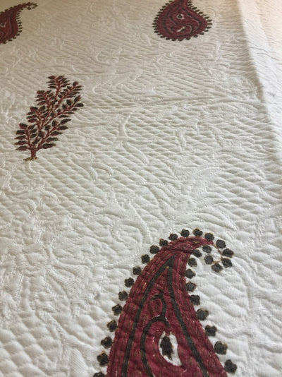 Brown- Bordeaux Paisley Bedspread