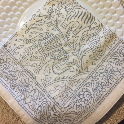 Gray Jungle Scene of Jaipur Napkin (set of 4)