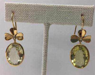 Peridot Oval Earrings with Gold Detail