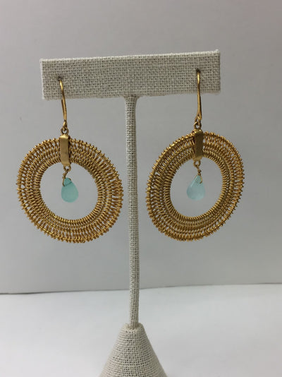 Gol Chalcedony Drop Earrings