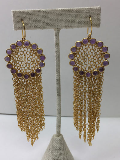 Amethyst Chain Mail Earrings