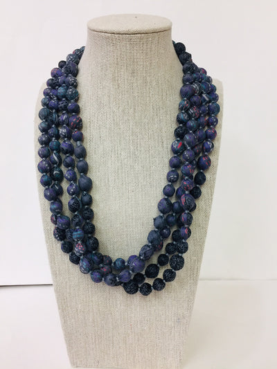 Silk Sari Bead Necklace, 1-string