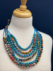 Silk Sari Bead Necklace - 6 string