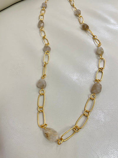 Chain Link Rutile Quartz Necklace