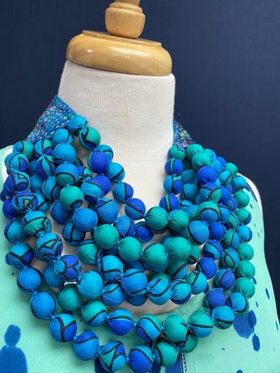 Kantha Bibb Silk Sari Bead Necklace