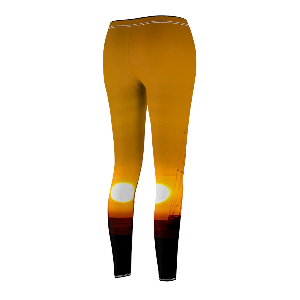 Women's Cut & Sew Casual Leggings Sunset - Cluedshopperclothing