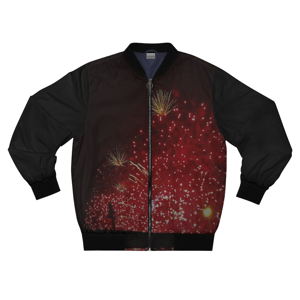 Men's AOP Bomber Jacket Fireworks Black - Cluedshopperclothing