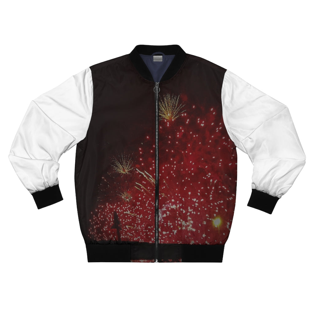Men's AOP Bomber Jacket Fireworks - Cluedshopperclothing