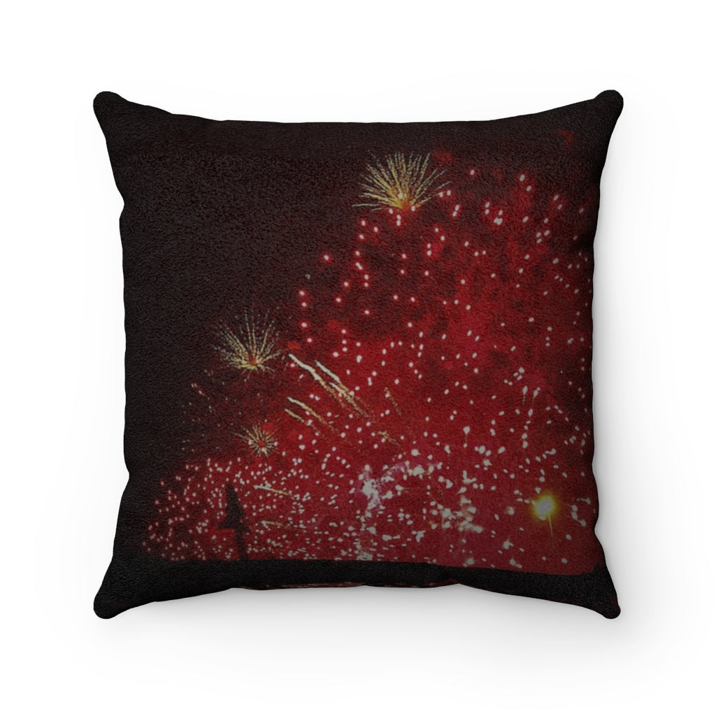 Faux Suede Square Pillow Fireworks - Cluedshopperclothing