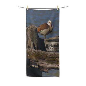 """Perched Egyptian Goose"" Polycotton Towel - Cluedshopperclothing"