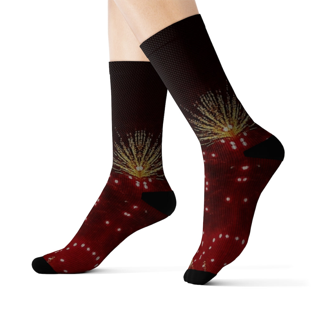 """Fireworks"" Sublimation Socks - Cluedshopperclothing"