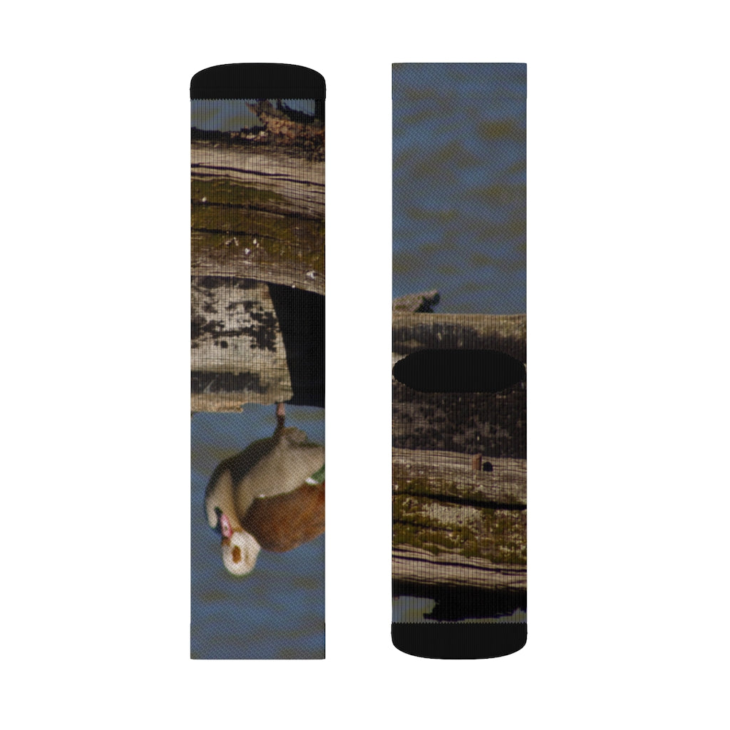 """Perched Egyptian Goose"" Sublimation Socks - Cluedshopperclothing"