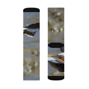 """Egyptian Goose Flight"" Sublimation Socks - Cluedshopperclothing"