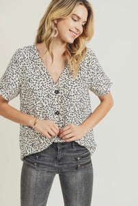 Easy Does It - Leopard Button Top